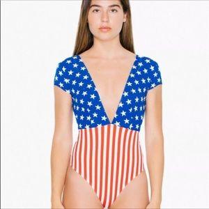 American Apparel USA Flag Bodysuit Sz L